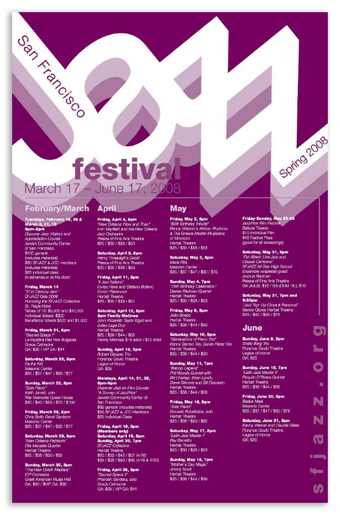 Calendar Event Design : Jazz festival events calendar nguyen graphics